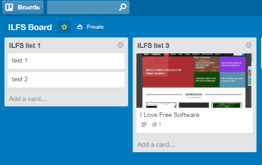 screenshot posted to my Trello account