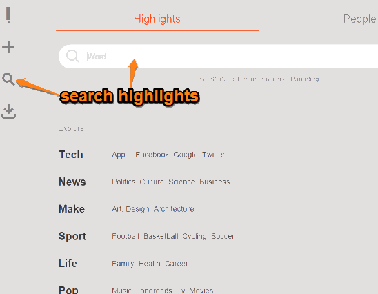 search highlights and people