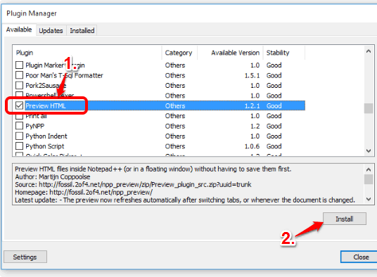 select Preview HTML plugin and click on Install button