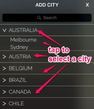 select a city