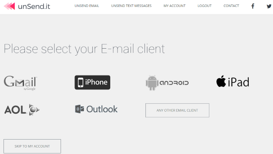 select your email client and configure it