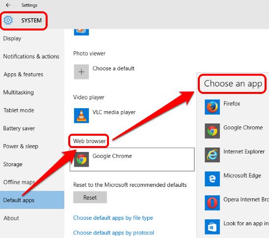 set Google Chrome as default web browser