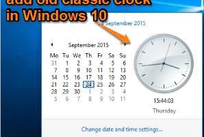 set old classic clock in Windows 10