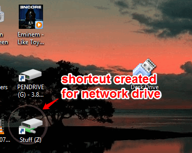 shortcut created for network drive