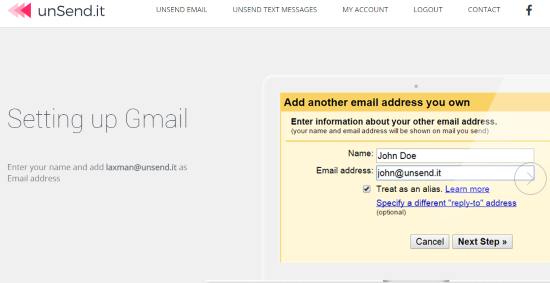 step by step instructions for configuring the selected email client