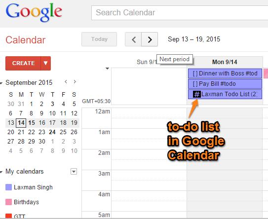 to-do list added in Google Calendar