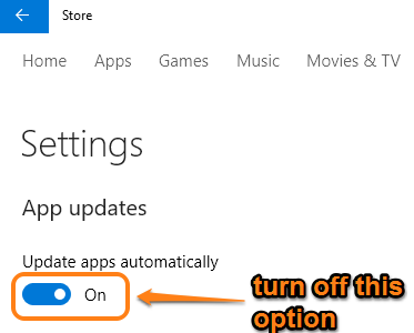turn off automatic updates for Store apps