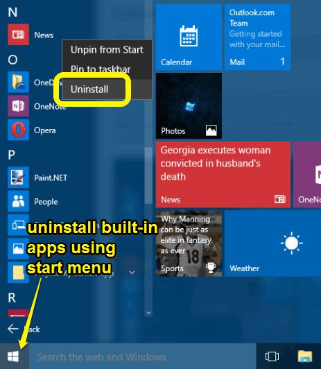 uninstall built-in apps using start menu