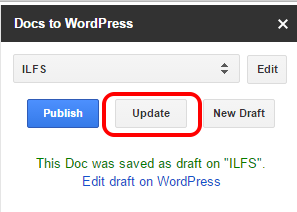 update WordPress document directly from Google Docs