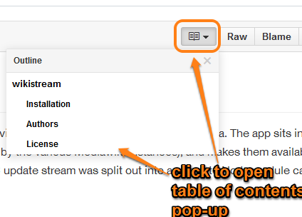 use drop down icon to open table of contents