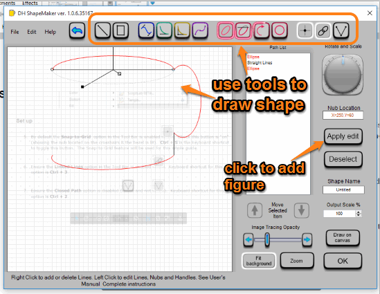use tools to draw shape