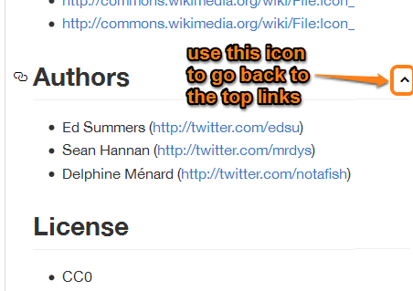 use up icon to go back to the top links
