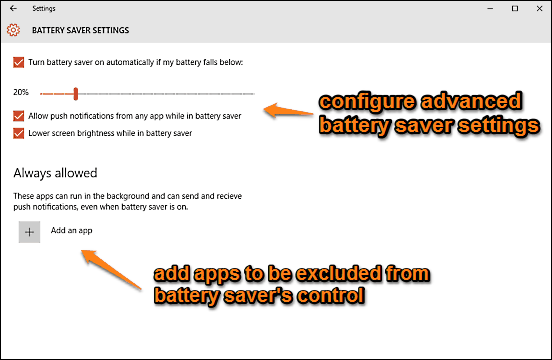 windows 10 configure advanced battery saver settings