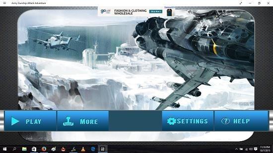 Army Gunship Attack Adventure main screen