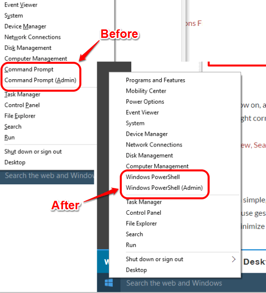 Command Prompt option replaced with Windows PowerShell in Win+X menu
