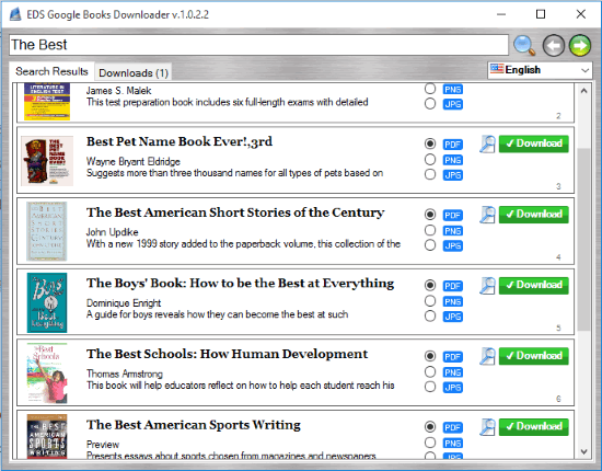 EDS Google Books Downloader- interface