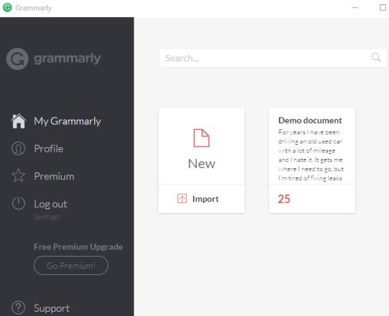 Grammarly Editor for Windows
