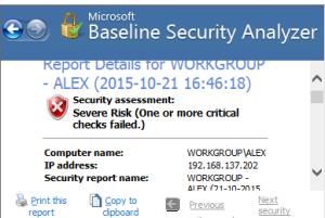 Microsoft Baseline Security Analyzer tool
