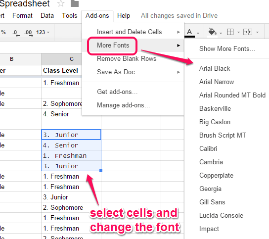 More Fonts add-on to use more than default 6 fonts in Google Sheets