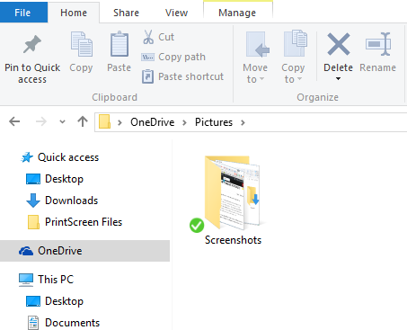 Screenshots folder location
