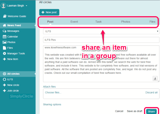 SimplyCircle- share files, photos, and events in groups
