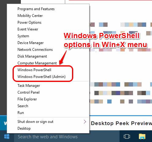 Windows PowerShell options in Win+X menu in Windows 10