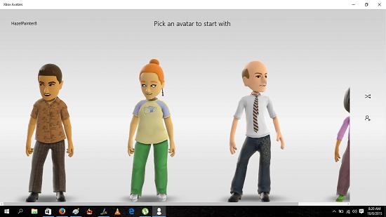 Xbox Avatars choose avatar