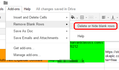 access Delete or hide blank rows option