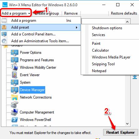 add a program to Win+X menu and restart Explorer
