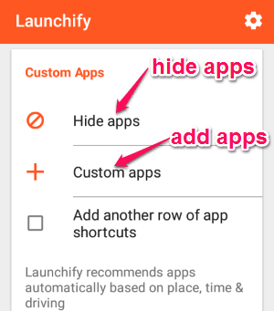 add hide apps