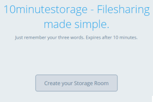 create 10 minutes storage space room to share files online