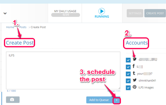 create a post, select accounts, and schedule