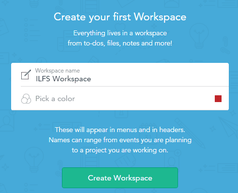 create your first workspace