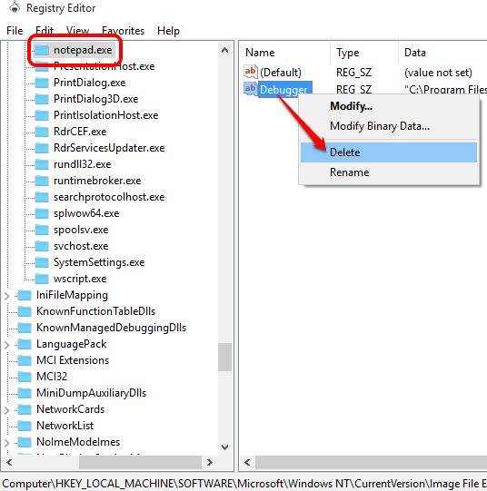 delete Debugger value available in notepad.exe folder