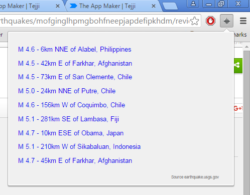 earthquake notification extensions google chrome 1