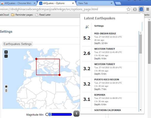 earthquake notification extensions google chrome 3