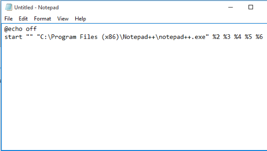 enter two lines to create a cmd file