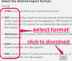 export entries