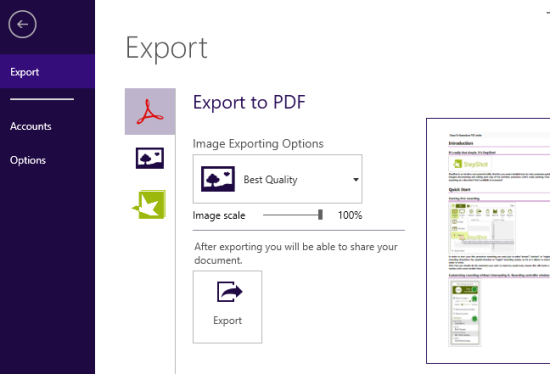 export screenshots as PDF
