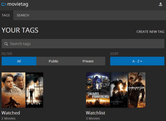 find and organize movies using Movietag website