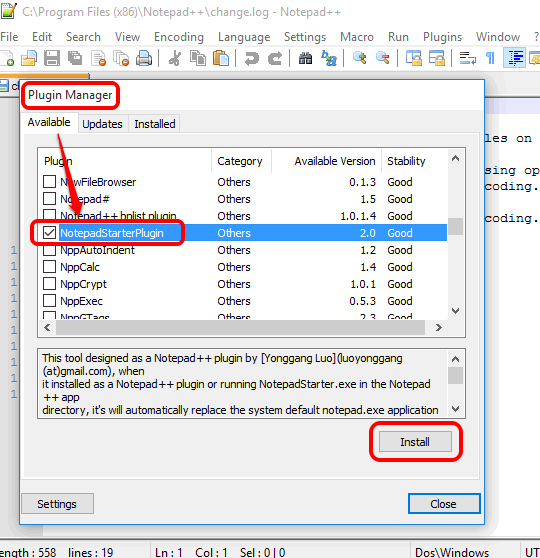 install NotepadStarterPlugin available for Notepad++