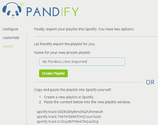 log in to your Spotify account to create playlist of Pandora likes