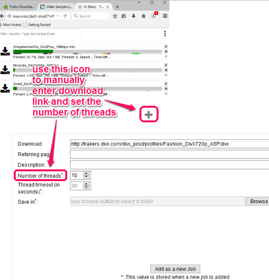 manually enter download link and set number of threads