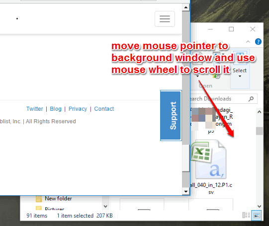 move mouse pointer to background window and scroll it