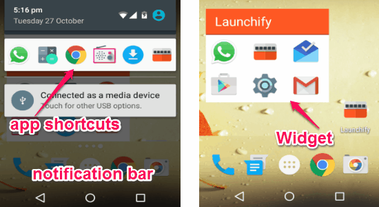 notification and widget
