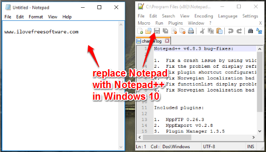 replace Notepad with Notepad++ in Windows 10