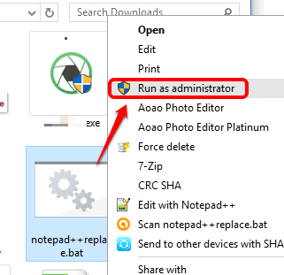 run bat file as administrator