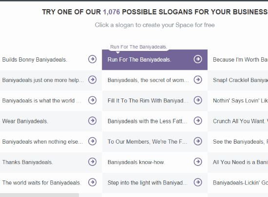 sample Slogans generated by this website