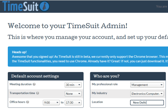 set default account settings and your informtion