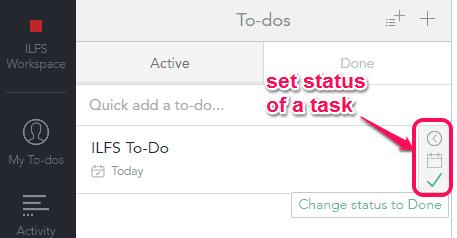 set status of a task